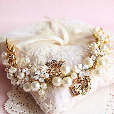 pearl flower gold leaf wedding hair vine, hair jewelry, bridal hair accessories