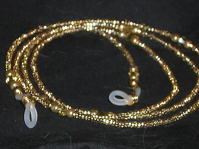 """Eyeglass Chain Handmade Champagne Golden Accents~NEW~28"""" Buy 3 SHIP FREE"""