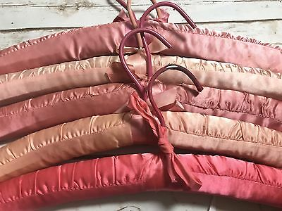 Vintage Lot of 5 Satin Padded Adult Clothes Hangers Shades Of Pink