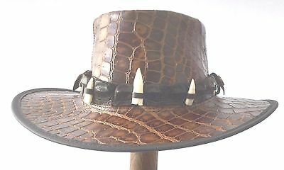 Leather hat with genuine crocodile  Band  and 5 teeth  only one in stock Large