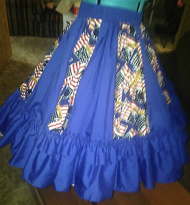 Malco Mode Square Dance 3 Pc Patriotic Skirt And Tie