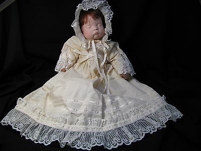 """18"""" BABY DOLL with bisque head & hands - christening dress 1993"""