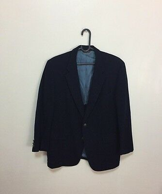 Preowned Vintage Cricketeer Man In Wool Sport Coat Blazer Navy Blue Two Button