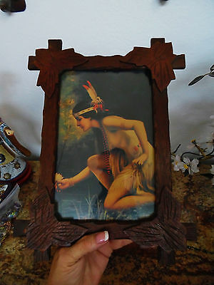 Vintagewood Carved  Adirondack Picture Frame Wth Deco Maiden Post Crd.& More