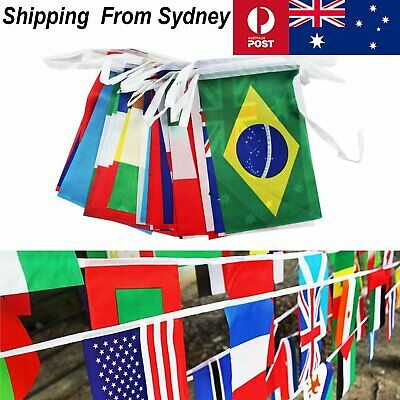 25m 100 Country International World Flag Toothpick Banner String Bunting Party D