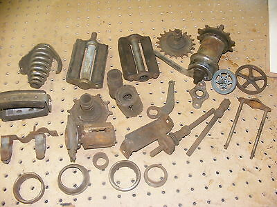 vintage lot of pre war bicycle parts springer hubs sprockets brackets pedals