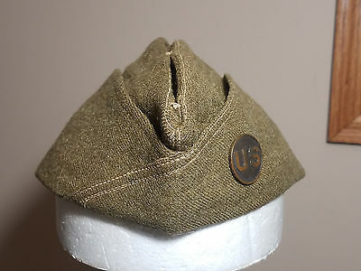 ORIGINAL WW1 US ARMY OVERSEAS CAP GARRISON HAT with US INSIGNIA DISC