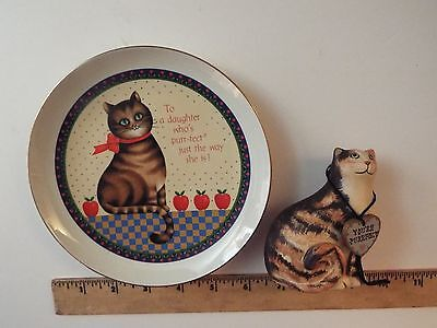 2 vtg lasting memories cat porcelain plate-am greetings-you're purrfect figurine