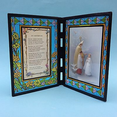 CATHOLIC CONFIRMATION PRAYER & Painting In Colourful Stained Glass Style Frame