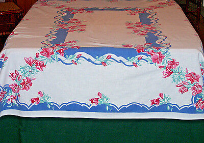Fabulous Vintage Linen Printed Tablecloth, Blue & Red Hibiscus Floral Theme 1950
