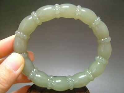 Antique Chinese Old Nephrite Jade  Bangle lotus-root  Bracelet11
