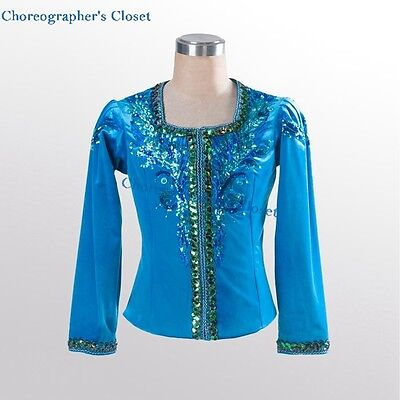 Men Boy's Blue Turquoise Velvet Ballet Tunic Costume Blue Bird Custom Made YAGP