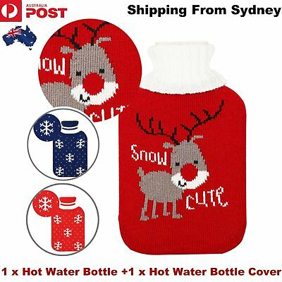 2L Hot Water Bottle Winter Warm Rubber Bag with Knitted Cover Classic Relaxing