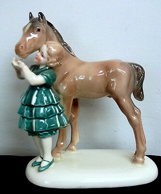 Vintage German HERTWIG KATZHUTTE Fine Porcelain Girl with Horse Figurine