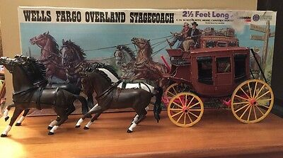 *Vintage *Wells Fargo Overland Stage Coach 1/16 Scale Model#351 By LINDBERG