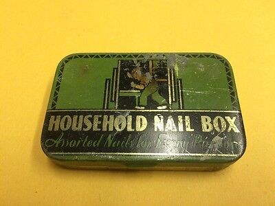 "Vintage ""Household Nail Box"" Great Art Deco Hinged Tin"