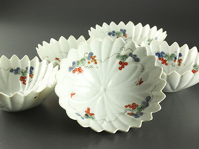 Japanese Porcelain KAKIEMON Style Bowls with Jagged Rims Set of 5: BB026