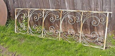 "Vtg Wrought Iron Railing Fence Deco Style 104"" X 29"" Garden Yard Metal Art"