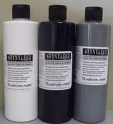 BADGER STYNYLREZ 4oz Primer Set 3 x 4oz / 120ml Grey White Black
