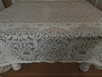Creme Large  Vintage Lace Tablecloth 162 X 275Cm. Vic.