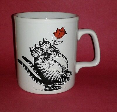 Vintage KLIBAN 1979 Cat Mug ~ Cats & Rose ~ Very Rare ~ HTF Collectible