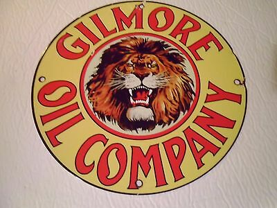 Used  -Gilmore oil Co, -Porcelain sign-