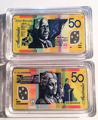 New $50.00 Australian New Note 1 oz Ingot 999 Silver Plated/Colour Printed