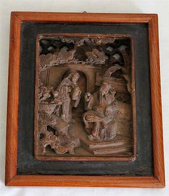 Chinese Vintage Antique Carved Wood Carving Noble Scholar