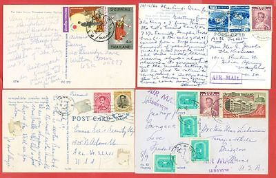 Thailand  Multiple stamp used on 4 diff Post Card to USA #4245