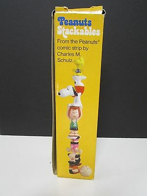 Vintage Peanuts Stackables Rubber Figure Set Complete w/Box Snoopy TOY