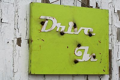 Drive-In vintage style metal sign, 50s inspired neon green Drive-In sign