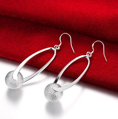 Womens 925 Sterling Silver Beads Ball Inlay Long Drop Dangle Charm Earrings #E28