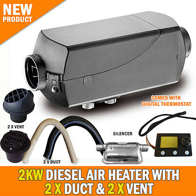 NEW 2KW Diesel Air Heater 2 x Vents and Duct Digital Thermostat Caravan RV Buses
