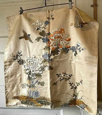 Vintage Antique Embroidered Pillow Cover Silk Floral 23 x 22 Ivory Birds Floral