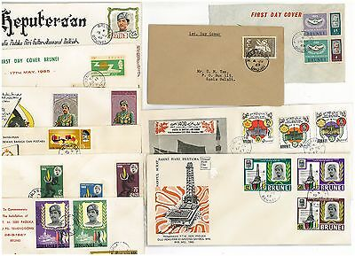 BRUNEI 9 FDCs OF 1970's ISSUES STAMPS