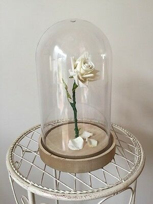 Beauty and the Beast Enchanted Rose LED LIGHT Dome Cloche - WHITE