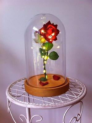 Beauty and the Beast Enchanted Rose LED LIGHT Dome Cloche - RED