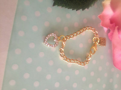 Reborn Dolls Bracelet - Gold Chain with Heart Diamente charm #1