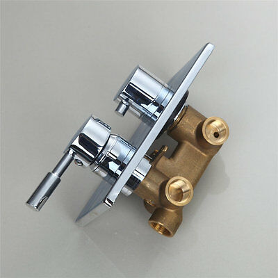 Heavy Brass Wall Mounted Shower Faucet Triple Control Valve Mixer Tap--In Chrome