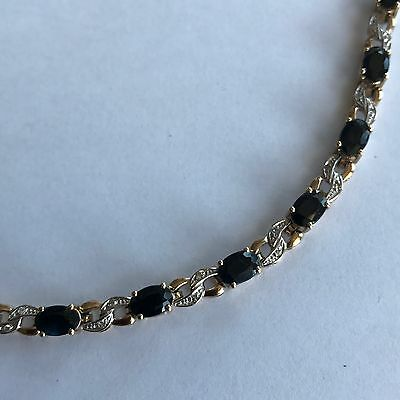 Tennis Bracelet 9ct Gold Sapphires Real Diamonds