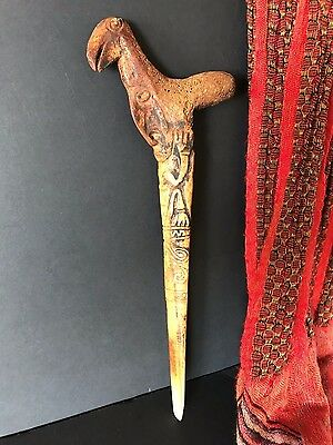 Old Papua New Guinea Abelam Carved Cassowary Bone Dagger …beautiful collection..