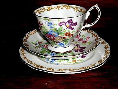 """Old 1930/50's Royal Albert """" Nosegay"""" (Floral Roses) Cup, Saucer & Plate (Trio)"""
