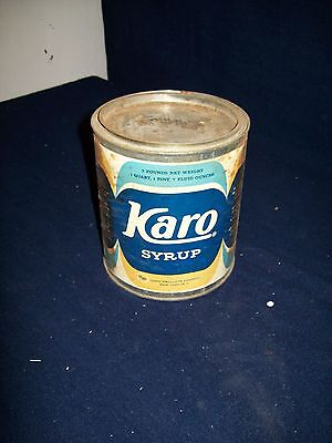 """Primitive old Karo Syrup empty vintage 6"""" tall tin can"""