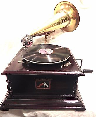 Antique Gramophone Phonograph With Sound Box Needle Set 78 Rpm Record Free