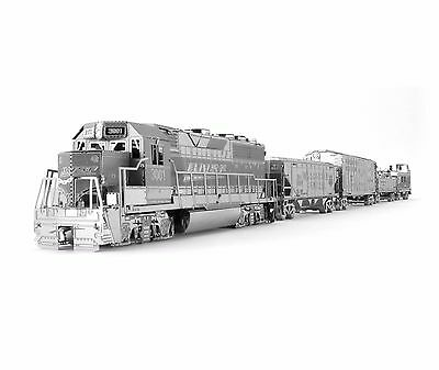 Metal Earth Freight Train Engine + 4 Cars Gift Set Laser Cut Metal Model kit