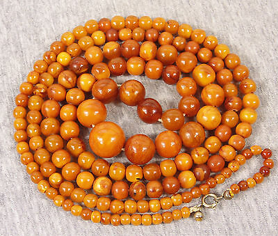 Antique Real Natural Butterscotch Amber Egg Yolk Chinese Round Beads Necklace --