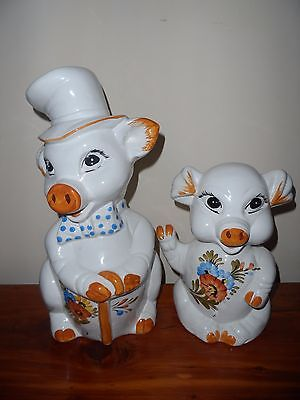 Vintage Large Ceramic Pig Money Box X 2- Made In Italy