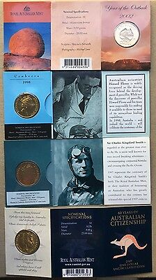Collection Of Rare Australian $1 Mint marked UNC Coin On Card 4 Coins Total
