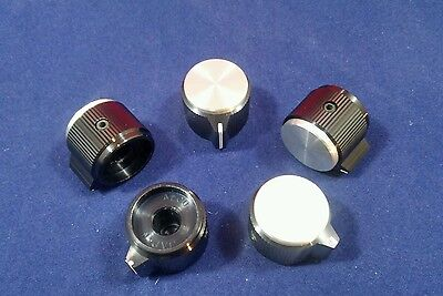 "5 Alco knob KPN-700BA 1/4"" shaft  Black  & Silver Aluminum Knobs Made in Japan"