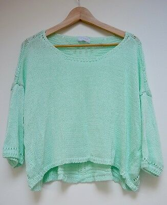 H TREND Cropped Mint Green Jumper UK 12-14